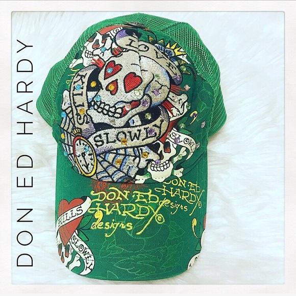 224005be56a Ed Hardy Accessories | Don Trucker Hat W Rhinestones | Poshmark